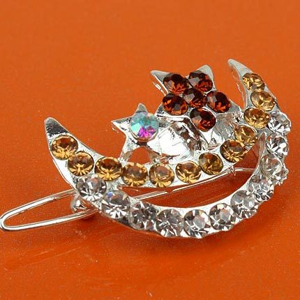Min.order is 10USD,Free shippingHair Accessories Alloy + Rhinestone Circled Moon Contains Two Stars HAIR PIN [1 of 6 products ](China (Mainland))