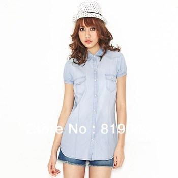 2013 NEW VANCL Women Cotton Isabella Short Sleeve Denim Shirt Two Flap Pockets Unique Temperament Light Blue FREE SHIPPING