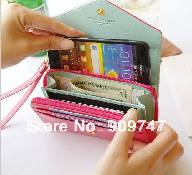 2014 new,wallet Mobile Phone Bags Women's Fashion Lovely Crown Concise Wallet Purse Cluth cute Card Holders free shipping(China (Mainland))