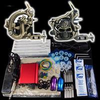 Beginner 2 Gun Kit Pro Tattoo Machine Gun Power Supply Foot Pedal Needles Grip Tip K17 free shipping