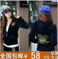 Spring women's velvet sports set Women casual sweatshirt set female fashion sportswear