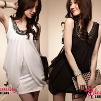 2013 summer chiffon skirt summer chiffon one-piece dress faux two piece slim sleeveless white slim hip skirt