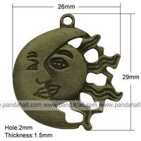 Tibetan Style Pendants,  Lead Free and Nickel Free,  Sun and Moon,  Antique Bronze Color,  29x26x1.5mm,  hole: 2mm