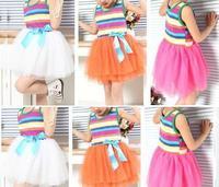 2013 hot sale girls rainbow dress kids summer children rainbow girl baby lace dress princess dresses