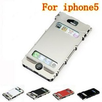 combo case For iPhone5 Stainless steel cover flip case iphone 5 luxury metal case for iphone 5