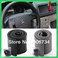 Hot Black And Grey 2PCS/Set DIY Car Genuine Leather Steering Wheel Cover With Hole Size M