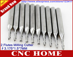 10 Pcs/lot 3.175*1.5*7mm Two Flute Solid Carbide Micro End Mill, Milling Cutters, Spiral Router Bits, Wood Tool Bits, Free Gift(China (Mainland))