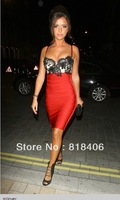 hot new fashion 2013 Free Shipping 2013 High Standard Elastic Knitted Bandage Dress Red With Black Lace Evening Dress