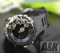 2013 Full Diamond Rhinestone Analog watch Rose Design Silicone Strap  Women Watch