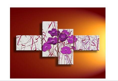 4 Piece Pintura Mural Art No quadro abstrato moderno acrílico roxo da flor Poppy a óleo sobre tela Faca Para Casa Decoração Moderna(China (Mainland))