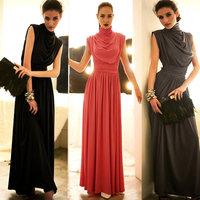New 2014 women party dresses tutleneck sleeveless tunic elegant maxi long dress vestido tunic 3 colors vintage pleated dress