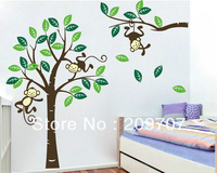 Free Shipping Hot Sale Wholesale Monkey Tree Wall Stickers Kids Nursery Decal Removable  Decor Vinyl Decals Wall Sticker WAS0097