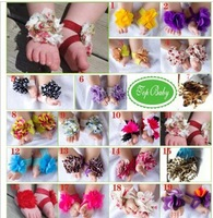 CL0144 Fast Free Shipping, 20 Pairs Baby Girl Boy Barefoot Sandal Foot Flower Shape Shoes Socks, Free Size, 0-24 Months Gift