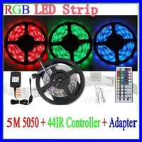 Retail- Hot sall 5M 300leds/roll  5050 SMD12V RGB  Waterproof strip light + 44 keys IR Remote Controller + 12V 7A Power Adapter