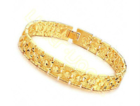 Wholesale&Retail New Arrival 11mm 21cm Mens Boys Cool 18K Gold Filled Bracelet Chain w Hearth Patterned Chain HL64