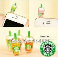 Cute Starbucks shaped earphone jack dust cap plug mobile phone for iPhone 4G 4S 5 Samsung