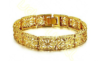 Wholesale&Retail New Arrival 12mm 19cm Women's Girls' 18K Real Gold Filled Bracelet Wedding Jewelry Never Fade HL56