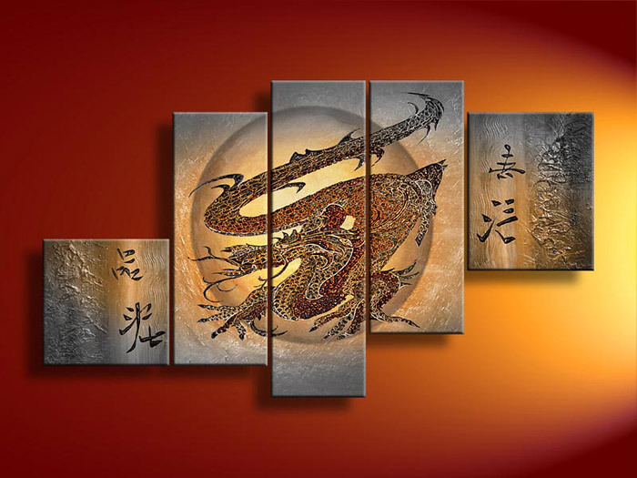 5 Panel Wall Art Modern Abstract Glucksdrache Gray Oil Painting On Canvas Contemporary Couple For Home Decor(China (Mainland))