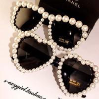 Free Shipping Fashion Women Love Heart Pearl handmade sunglasses