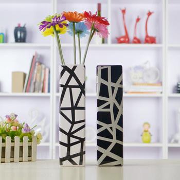 Black and white lines fashion vase housewarming gift accessories ceramic vase modern brief furnishings decoration