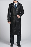 Free Shipping Hot Sale 2013 New Styles Men's Long Coat Jacket Fashion Leisure Real Leather Jackets M---3XL