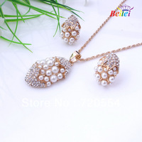 Free Shipping fashion jewelry set hot  18K Rose Gold Plated Crystal Jewelry Set Gift  Earrings+Necklace Pearl Jewelry Sets