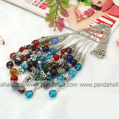 Fashion Tibetan Style Necklaces, with Glass Beads, Iron Twist Chains and Alloy Lobster Claw Clasps, Mixed Color, 18.5&quot;(China (Mainland))