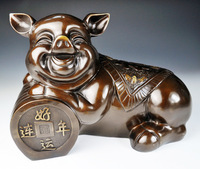 Copper pig decoration Large lucky pig crafts fortune pig home