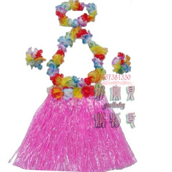 Infant clothes dance hula skirt garishness five pieces set tropical props child performance wear(China (Mainland))