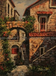 oil paintings on canvas free shipping Landscape Mediterranean Village decoration bed room background modern abstract art(China (Mainland))