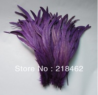 Wholesale 100pcs/lots 12-14''/30-35cm Purple Dyed Loose Cock Tail feathers decoration For Crafts