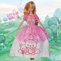 Painting girl toys diy doll clothes dress up doll toy