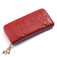 New arrival free shipping leather embossed long wallets for wpmen Pendant  clutch wallet bags genuine leather purse eveing bags
