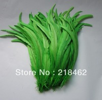 Free Shipping DIY Green-Colors  Dyed Cock Tail feathers 100pcs/lots 14-16''/35-40cm decoration  For Dress/Hats Trims
