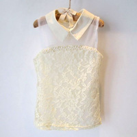 wholesale--5pcs/lot Girls summer hot sale high lace pearl trim shirt free shipping.