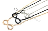 12pcs 2013 new hot 8 shape chocker chain one direction infinity necklace jewelry 3colors black gold silver plated