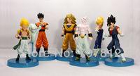 New PVC  5CH Dragonball Z  Action Figures  Super saiyan 3 Goku/vegeta/Buu/Gohan  Best gifts collections 6pcs/set  Free Shipping