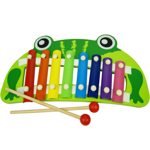 Wooden frog toy hand knocking piano baby orff instruments baby music toy puzzle Wooden toys(China (Mainland))
