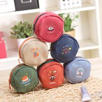 Small wallet coin purse female circle canvas coin purse coin case,free shipping