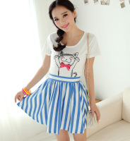 2013 summer vivi fresh navy style blue and white vertical stripe all-match half-skirt bust skirt