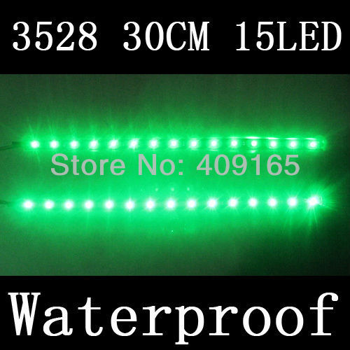 4pcs/lot 30cm 15 LED Green 3528 1210 SMD waterproof flexible led strip Car Auto Motors 12V free shipping(China (Mainland))
