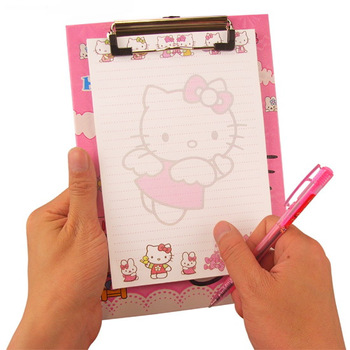 Free shipping 10 sets/lot, 4 IN 1 Stationery set Clamp plate+2 pen+notepad Cartoon school supplies for students Kids cute gift