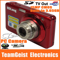 NEW 2.7'' TFT LCD Screen Digital Camera built-in 3.65GB Memory 15MP COMS sensor 5X Optional zoom Support PC Camera Free Shipping