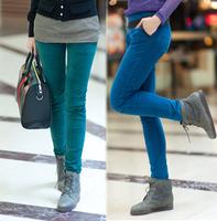 2013 autumn and winter fashionable casual trousers flat velvet elastic waist slim pencil pants