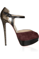 2012 fashion python sheepskin sandals water summit high-heeled shoes red sole shoes women's single shoes, bigger size