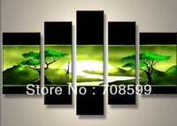 two green trees  High Quality Guaranteed Wall Art Home Decoration100% Hand painted Landscape Oil Painting on Canvas