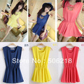 Sweetheart 2013 summer women's all-match fresh candy color slim waist chiffon Mini Dress 3colors