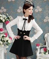 Free shipping Wholesale 2014 Spring 50'S Novelty Designer Black & White Ruffled Shirt Blouses Women's Bodycon Dress