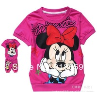 New arrival 6 sets/lot fashion cute cartoon children clothing ,short sleeve T-shirt +pants children/kids suit, kids clothes