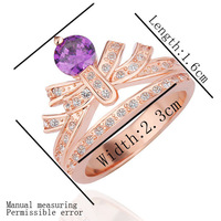 18K Gold Plated Ring R230 Butterfly Jewelry for Lady Golden Plating Rhinestone Austrian Crystal Designer Ring Promotion